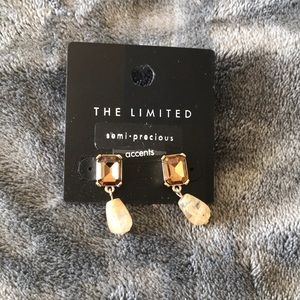 *3/25* The Limited crystal and stone drop earrings